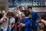 VIPs enjoy at the HKRFU Box  during the Cathay Pacific / HSBC Hong Kong Sevens at the Hong Kong Stadium on 29 March 2014 in Hong Kong, China. Photo by Jerome Favre / Power Sport Images
