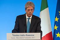 PAOLO GENTILONI A LA TRIBUNE - 34EME SOMMET FRANCO-ITALIEN A LYON