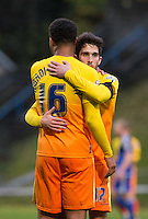 Goalscorer's Aaron Holloway of Wycombe Wanderers & Max Kretzschmar of Wycombe Wanderers embrace during the FA Cup 1st Round match between FC Halifax Town and Wycombe Wanderers at The Shay Stadium, Shaw Hill, Halifax, West Yorkshire, England on 8 November 2015. Photo by Andy Rowland.