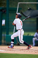 GCL Braves shortstop Luidemid Rojas (1) follows through on a swing during the second game of a doubleheader against the GCL Yankees West on July 30, 2018 at Champion Stadium in Kissimmee, Florida.  GCL Braves defeated GCL Yankees West 5-4.  (Mike Janes/Four Seam Images)