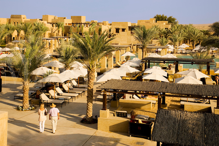 Dubai.  Gardens and swimming pool area at Bab al Shams desert resort..