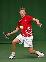 01-12-13,Netherlands, Almere,  National Tennis Center, Tennis, Winter Youth Circuit, Michel de Krom <br /> Photo: Henk Koster