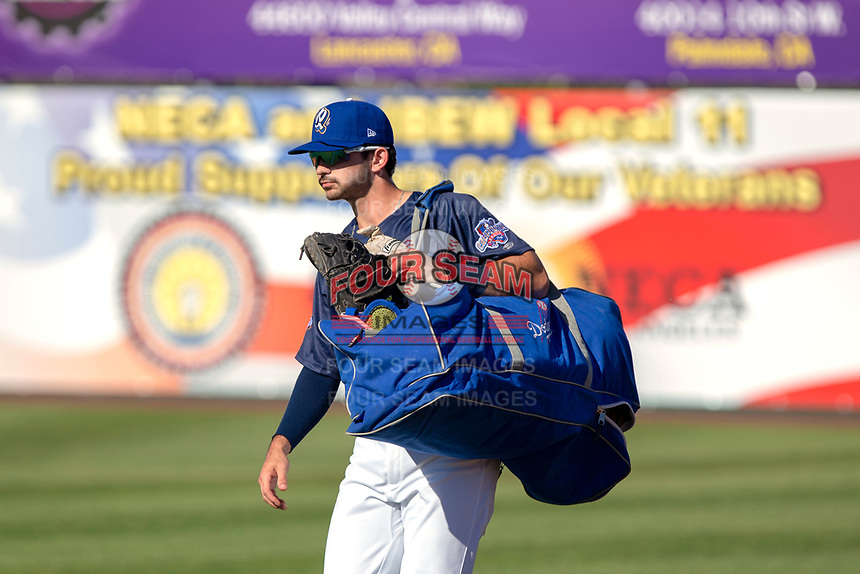 Connor Wong (11) of the Rancho Cucamonga Quakes prior to the 2018 California League All-Star Game at The Hangar on June 19, 2018 in Lancaster, California. The North All-Stars defeated the South All-Stars 8-1.  (Donn Parris/Four Seam Images)