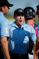 Umpire Tyler Jones before a Southern League game between the Mobile BayBears and Pensacola Blue Wahoos on July 25, 2019 at Blue Wahoos Stadium in Pensacola, Florida.  Pensacola defeated Mobile 2-1 in the first game of a doubleheader.  (Mike Janes/Four Seam Images)