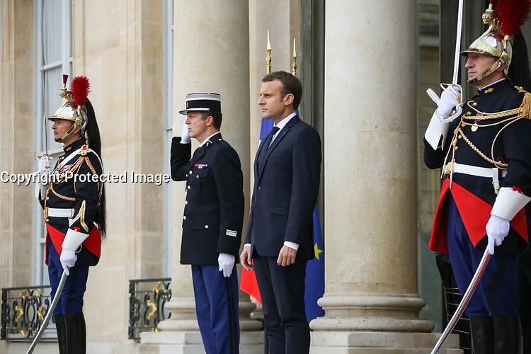EMMANUEL MACRON - LE PRESIDENT EMMANUEL MACRON RECOIT LE PRESIDENT EGYPTIEN ABDEL FATTAH AL-SISSI, PALAIS DE L'ELYSEE, PARIS, FRANCE, LE 24/10/2017.