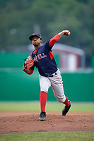 Lowell Spinners starting pitcher Yorvin Pantoja (57) delivers a pitch during game against the Batavia Muckdogs on July 14, 2018 at Dwyer Stadium in Batavia, New York.  Lowell defeated Batavia 8-4.  (Mike Janes/Four Seam Images)