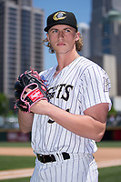Charlotte Knights pitcher Michael Kopech (34) poses for a photo following the game against the Gwinnett Stripers at BB&T BallPark on May 2, 2018 in Charlotte, North Carolina.  The Knights defeated the Stripers 6-5.  (Brian Westerholt/Four Seam Images)
