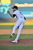 Asheville Tourists pitcher Yeremi Ceballos (21) delivers a pitch during a game against the Aberdeen IronBirds on June 16, 2021 at McCormick Field in Asheville, NC. (Tony Farlow/Four Seam Images)