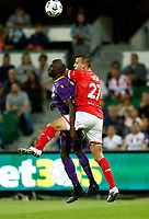 18th April 2021; HBF Park, Perth, Western Australia, Australia; A League Football, Perth Glory versus Wellington Phoenix; Steven Taylor of Wellington Phoenix and Jason Geria of the Perth Glory compete for the header