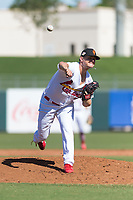 Surprise Saguaros relief pitcher Connor Jones (39), of the St. Louis Cardinals organization, delivers a pitch during an Arizona Fall League game against the Peoria Javelinas at Surprise Stadium on October 17, 2018 in Surprise, Arizona. (Zachary Lucy/Four Seam Images)