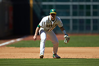 Baylor Bears third baseman Esteban Cardoza-Oquendo (52) on defense against the Missouri Tigers in game one of the 2020 Shriners Hospitals for Children College Classic at Minute Maid Park on February 28, 2020 in Houston, Texas. The Bears defeated the Tigers 4-2. (Brian Westerholt/Four Seam Images)