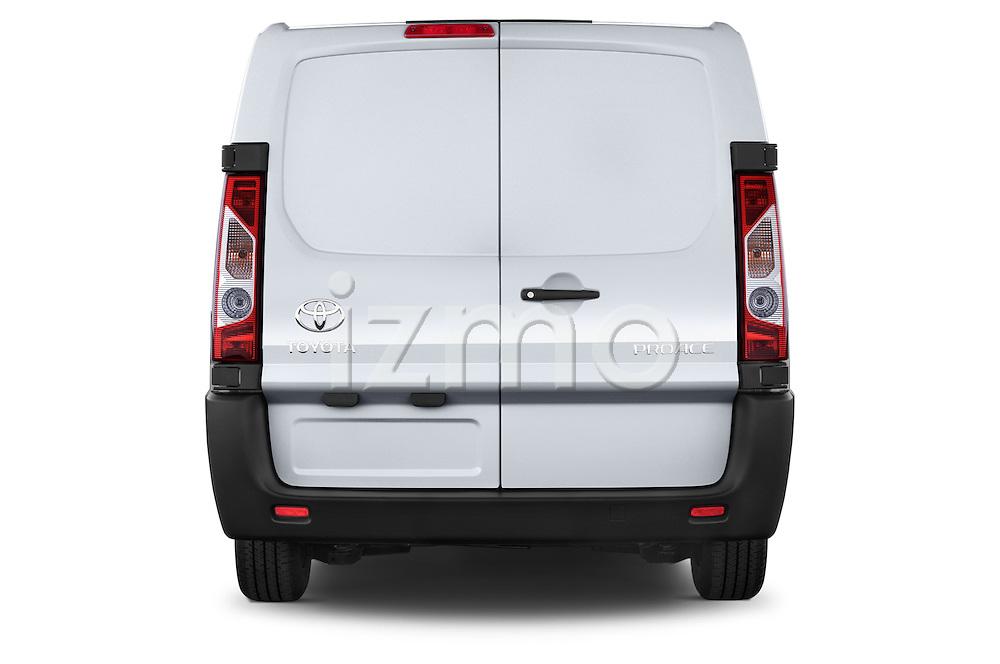 Straight rear view of a 2013 Toyota Proace Comfort 5 Door Cargo Van Rear View  stock images