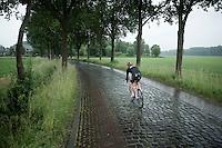 Lars Bak (DEN/Lotto-Soudal)doing some cobbles testing (ahead of the 2015 Tour de France?) behind the peloton<br /> <br /> stage 5: Eindhoven - Boxtel (183km)<br /> 29th Ster ZLM Tour 2015