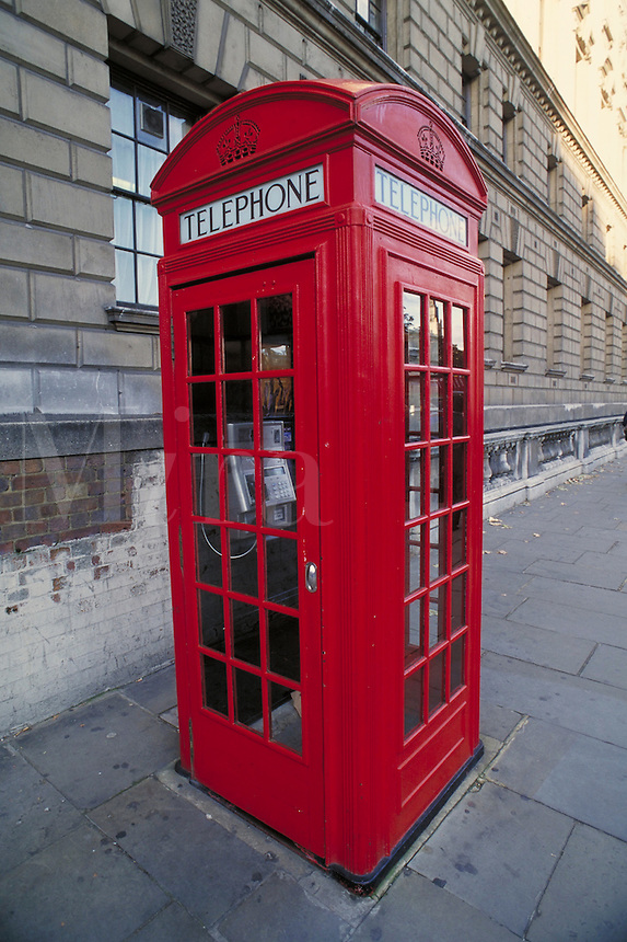 Red telephone booth. London, England. London, England.