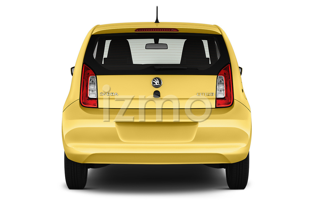 Straight rear view of 2016 Skoda Citigo Ambition 3 Door hatchback Rear View  stock images