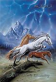 Interlitho, FANTASY, paintings, 3 horses, wood, KL, KL3296/2,#fantasy# illustrations, pinturas