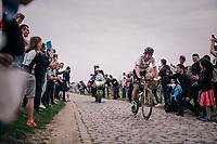 World Champion Peter Sagan (SVK/Bora-Hansgrohe) solo in pursuit of the 2 leaders<br /> <br /> 116th Paris-Roubaix (1.UWT)<br /> 1 Day Race. Compiègne - Roubaix (257km)