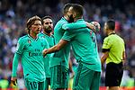 Fede Valverde (L) and Karim Benzema (R) of Real Madrid celebrate goal during La Liga match between Real Madrid and RCD Espanyol at Santiago Bernabeu Stadium in Madrid, Spain. December 07, 2019. (ALTERPHOTOS/A. Perez Meca)