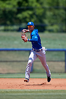 Dunedin Blue Jays third baseman Kevin Vicuna (3) throws to first base during a Florida State League game against the Charlotte Stone Crabs on April 17, 2019 at Charlotte Sports Park in Port Charlotte, Florida.  Charlotte defeated Dunedin 4-3.  (Mike Janes/Four Seam Images)