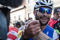 Race winner Fernando Gaviria (COL/Quick Step Floors) congratulated   <br /> <br /> 102nd Kampioenschap van Vlaanderen 2017 (UCI 1.1)<br /> Koolskamp - Koolskamp (192km)