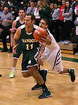 Alumni Thomas Peregrin and Miners Zackary Teats compete in the alumni game at the Wild West Shootout at Bishop Manogue High School in Reno, Nev., on Wednesday, Dec. 4, 2013. The Miners defeated the alumni 79-62. <br /> Photo by Cathleen Allison