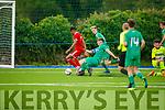 Kerrys Shane Jordan puts in the tackle on Ricardo Dianangal of Cork City in the U19 soccer league.