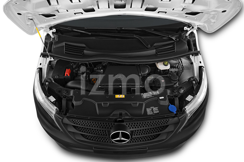 Car Stock 2019 Mercedes Benz Vito Select 4 Door Car Van Engine  high angle detail view