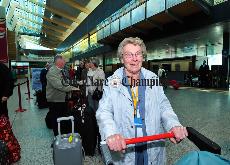 Sister Jo Cantwell pictured recently departing for the Holy Land. Photograph by Declan Monaghan