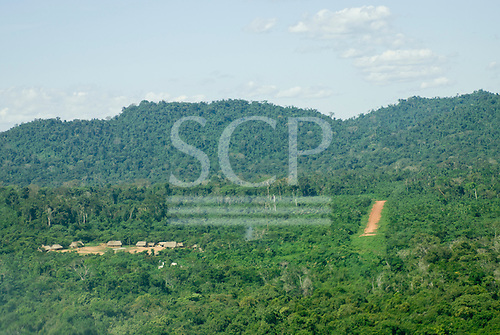 Pará State, Brazil. Aldeia Pukarankre; aerial view of the approach to the landing strip.