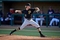 Bristol Pirates starting pitcher Shane Baz (10) delivers a pitch during a game against the Elizabethton Twins on July 28, 2018 at Joe O'Brien Field in Elizabethton, Tennessee.  Elizabethton defeated Bristol 5-0.  (Mike Janes/Four Seam Images)