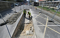 BNPS.co.uk (01202 558833)<br /> Pic: Zachary Culpin/BNPS<br /> <br /> Pictured: The trench where the team found medieval home remains - So far, they have found the remains of a medieval home made from Portland stone and fragments of medieval pottery.<br /> <br /> An archaeological dig is underway at the site of a bloody Civil War battle in a bid to uncover artefacts hidden for 376 years.<br /> <br /> Four exploratory trenches have been dug as part of the excavation of the former medieval high street in Weymouth, Dorset.<br /> <br /> The seaside town witnessed the Battle of Weymouth in February 1645 where Parliamentarians outnumbered by six to one saw off a Royalist plot to seize it.<br /> <br /> Five hundred people were killed during the fighting and had the Royalists won, Charles I would have secured the safe south coast port he needed to land 35,000 French troops - potentially altering the course of history.
