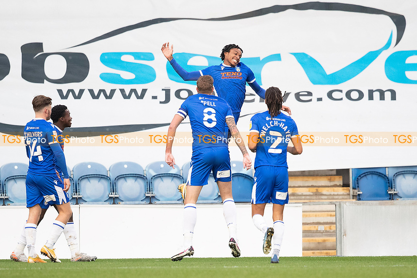 Jevani Brown, Colchester United celebrates the opening goal for the hosts during Colchester United vs Leyton Orient, Sky Bet EFL League 2 Football at the JobServe Community Stadium on 14th November 2020