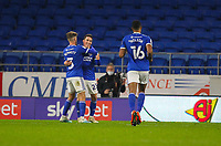 3rd November 2020; Cardiff City Stadium, Cardiff, Glamorgan, Wales; English Football League Championship Football, Cardiff City versus Barnsley; Harry Wilson of Cardiff City celebrates after scoring his sides third goal in the 77th minute to make the score 3-0
