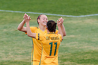 June 4, 2016: CAITLIN FOORD (9) of Australia celebrates her second goal during an international friendly match between the Australian Matildas and the New Zealand Football Ferns as part of the teams' preparation for the Rio Olympic Games at Morshead Park in Ballarat. Photo Sydney Low