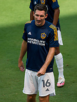LOS ANGELES, CA - AUGUST 22: Sacha Kljestan #16 of the Los Angeles Galaxy warming up before a game between Los Angeles Galaxy and Los Angeles FC at Banc of California Stadium on August 22, 2020 in Los Angeles, California.
