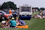 Milk Float, selling milk to Polo picnickers  at Windsor Great Park 1980s.