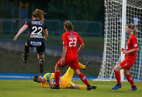 Woluwe's goalkeeper Hazel Engelen (18) blocks an attempt on goal from Essevee and Essevee's Anne-Lore Scherrens (22) jumps over, during a female soccer game between FC Femina White Star Woluwe and Dames Zulte Waregem  on the first matchday of the 2020 - 2021 season of Belgian Women's SuperLeague , Friday 28 of August 2020  in Sint Lambrechts Woluwe , Belgium . PHOTO SPORTPIX.BE | SPP | SEVIL OKTEM