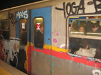 Metro Art - Rome. A crowded Metro train during rush hour in Rome becomes a modern moving art piece, in stark contrast to Rome's historic works of art.