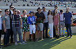 DEL MAR, CA  SEPTEMBER 6: The connections of #5 Mackinnon, ridden by Juan Hernandez, in the winners circle after winning the Del Mar Juvenile Turf on September 6, 2021 at Del Mar Thoroughbred Club in Del Mar, CA. (Photo by Casey Phillips/Eclipse Sportswire/CSM)