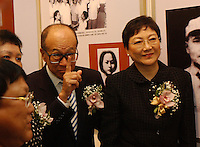 "Deng's three daughters - Deng Lin, Deng Nan and Deng Rong at the opening ceremony of ""Giant of the Century"" - an exhibition to commemorate the 100th Anniversary of the Birth of Deng Xiaoping in Hong Kong. The exhibition aims at introducing Deng's life to the people of Hong Kong.<br /> 26-AUG-04"