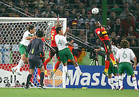 Jamba (3) of Angola heads away from his goal. Mexico and Angola played to a 0-0 tie in their FIFA World Cup Group D match at FIFA World Cup Stadium, Hanover, Germany, June 16, 2006.