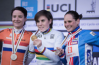 The 2017 UCI Women's Cyclocross World Championship podium:<br /> 1/ Sanne Cant (BEL)<br /> 2/ Marianne Vos (NED)<br /> 3/ Katerina Nash (CZE)<br /> <br /> january 2017, Bieles/Luxemburg