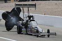 Apr. 6, 2013; Las Vegas, NV, USA: NHRA top fuel dragster driver David Grubnic during qualifying for the Summitracing.com Nationals at the Strip at Las Vegas Motor Speedway. Mandatory Credit: Mark J. Rebilas-