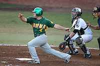 Siena Saints John Rooney #4 at bat in front of catcher Nick Rickles #9 during a game vs Stetson Hatters at Melching Field in De Land, Florida;  March 16, 2011.  Stetson defeated Siena 5-1.  Photo By Mike Janes/Four Seam Images