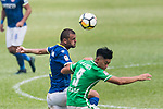 Igor Miovic of Rangers (L) fights for the ball with Chun Sing Yuen of Wofoo Tai Po (R) during the week three Premier League match between BC Rangers and Wofoo Tai Po at Sham Shui Po Sports Ground on September 17, 2017 in Hong Kong, China. Photo by Marcio Rodrigo Machado / Power Sport Images
