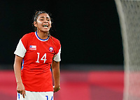 21st July 2021; Sapporo, Japan; Daniela Pardo 14 Chile directs her team during the womens Olympic Football Tournament Tokyo 2020 match between Great Britain and Chile at Sapporo Dome in Sapporo, Japan. Great Britain won the game by a score of 2-0