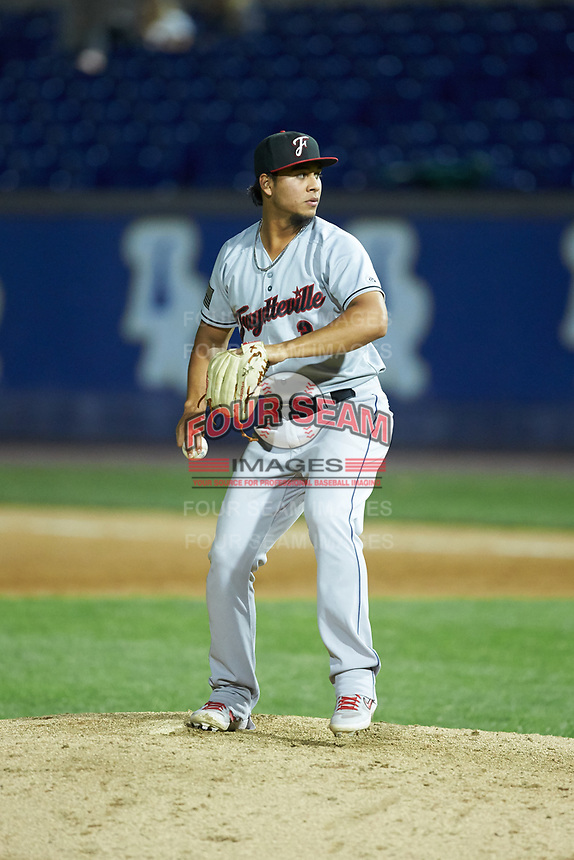 Fayetteville Woodpeckers infielder Miguelangel Sierra (3) pitches in the Carolina League game against the Wilmington Blue Rocks at Frawley Stadium on June 6, 2019 in Wilmington, Delaware. The Woodpeckers defeated the Blue Rocks 8-1. (Brian Westerholt/Four Seam Images)