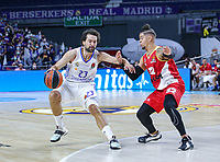 13th October 2021; Wizink Center; Madrid, Spain; Turkish Airlines Euroleague Basketball; game 3; Real Madrid versus AS Monaco; Sergio Llull (Real Madrid Baloncesto) holds off the defense of Gray Job (AS Monaco)