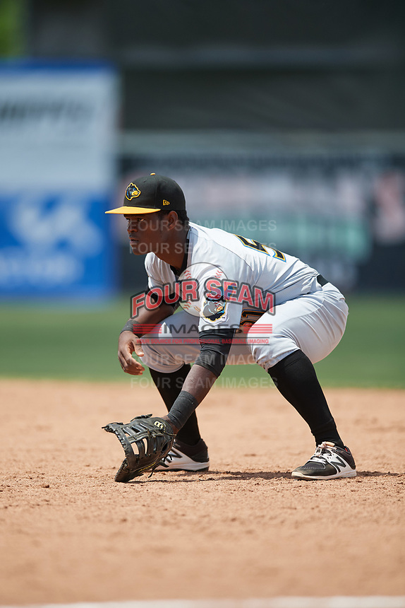West Virginia Black Bears first baseman Huascar Fuentes (51) during a game against the Batavia Muckdogs on June 25, 2017 at Dwyer Stadium in Batavia, New York.  West Virginia defeated Batavia 6-4 in the completion of the game started on June 24th.  (Mike Janes/Four Seam Images)