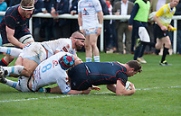 Dino Waldren of London Scottish scores his second try during the Greene King IPA Championship match between London Scottish Football Club and Rotherham Titans at Richmond Athletic Ground, Richmond, United Kingdom on 7 April 2018. Photo by Alan  Stanford/PRiME Media Images.